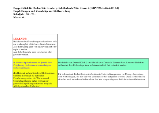 Doppel-Klick - Stoffverteilungsplan - Band 2: 6. Schuljahr
