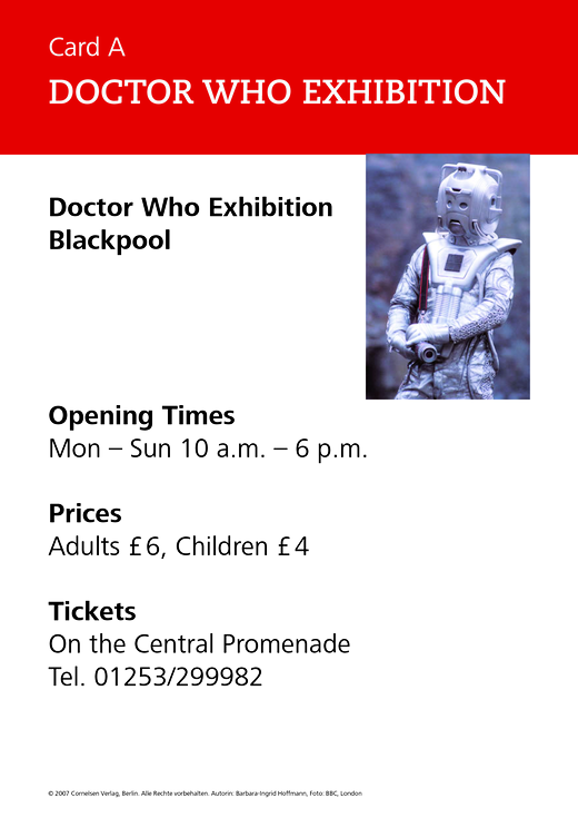 New Highlight - Doctor Who exhibition - Role-play card