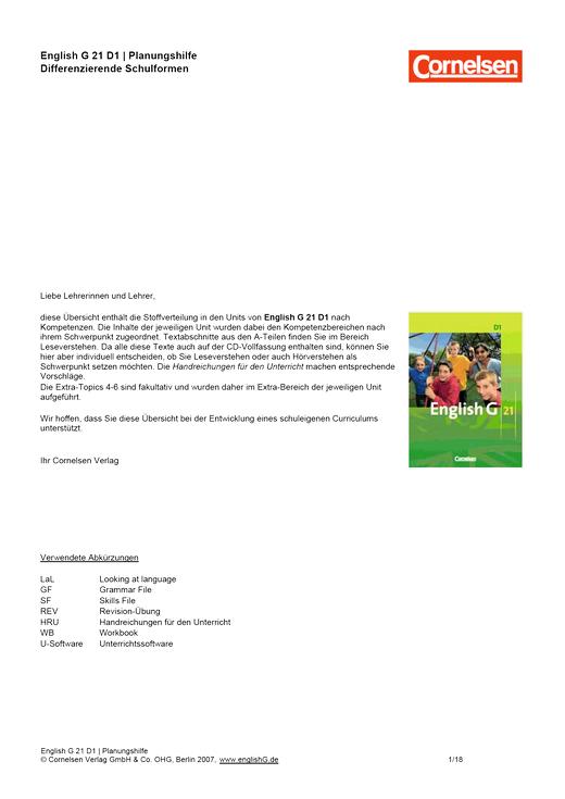 English G 21 - Planungshilfe für Schleswig-Holstein, Hamburg, Bremen, Saarland - Band 1: 5. Schuljahr