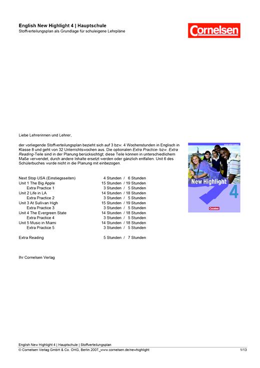New Highlight - Allgemeine Fassung - Stoffverteilungsplan für die Hauptschule - Band 4: 8. Schuljahr