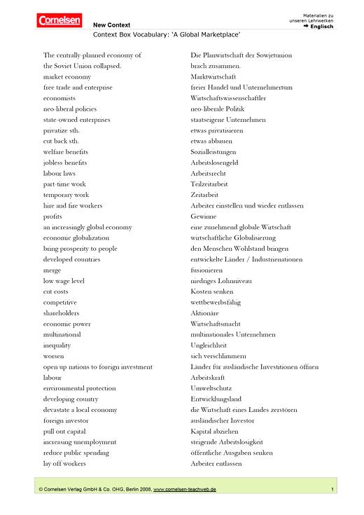 """Context Box Vocabulary: """"A global marketplace"""" - Wortschatzliste - Webshop-Download"""
