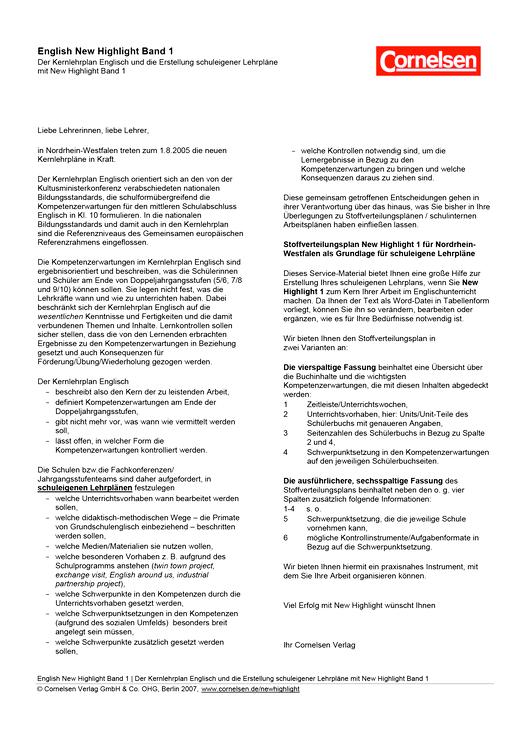 New Highlight - Hinweise zur Erstellung schuleigener Lehrpläne für Nordrhein-Westfalen - Band 1: 5. Schuljahr