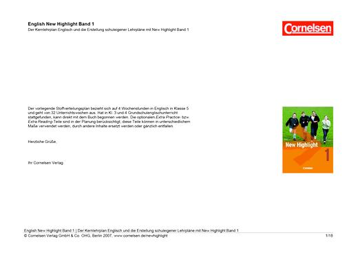 New Highlight - Stoffverteilungsplan für Nordrhein-Westfalen (vierspaltig) - Band 1: 5. Schuljahr