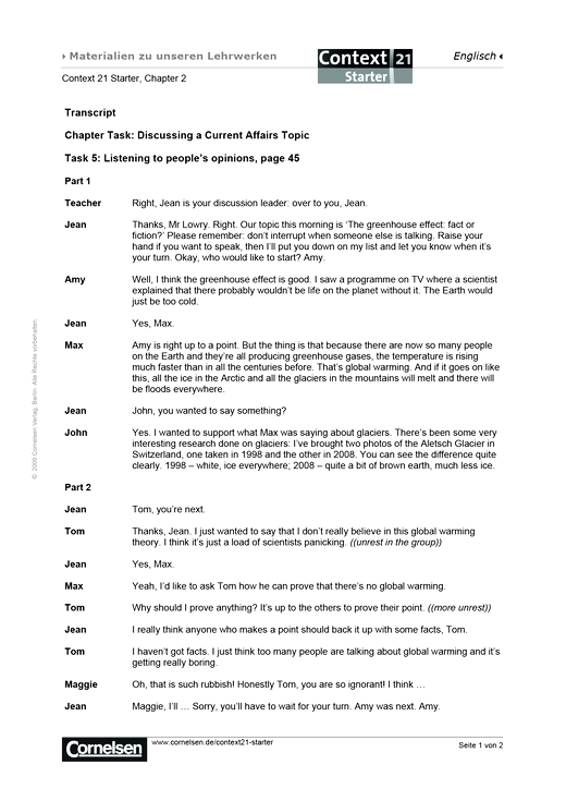 Transkript zu Task 5: Listening to people's opinions, page 45 - Transkript - Webshop-Download