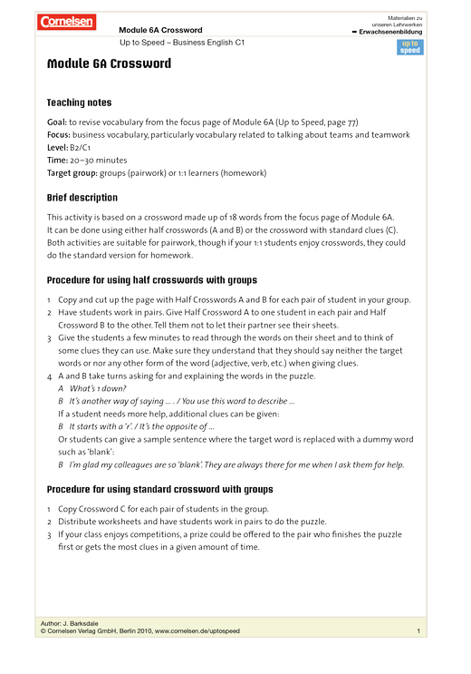 Module 6A Crossword - Worksheet - Webshop-Download