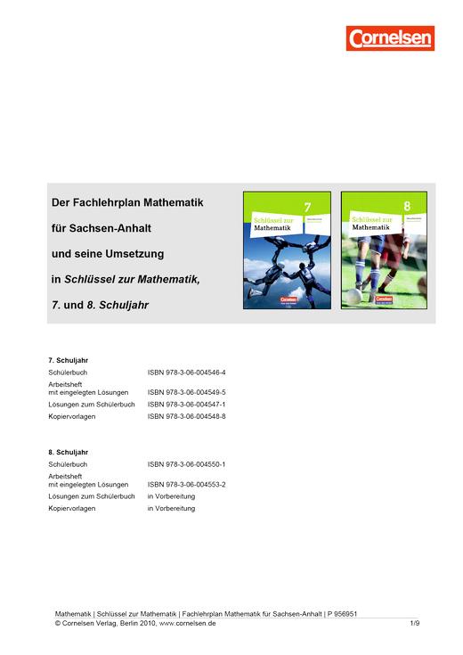 Schlüssel zur Mathematik - Schlüssel zur Mathematik. Sekundarschule Sachsen-Anhalt Klasse 7 und 8 - Synopse - 7. Schuljahr
