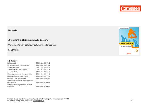 Doppel-Klick - Doppel-Klick Differenzierende Ausgabe 5 / Jahresplaner für Niedersachsen - Stoffverteilungsplan - 5. Schuljahr