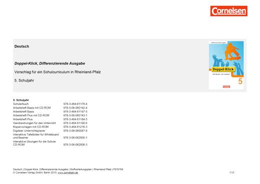 Doppel-Klick - Stoffverteilungsplan für Rheinland-Pfalz - 5. Schuljahr