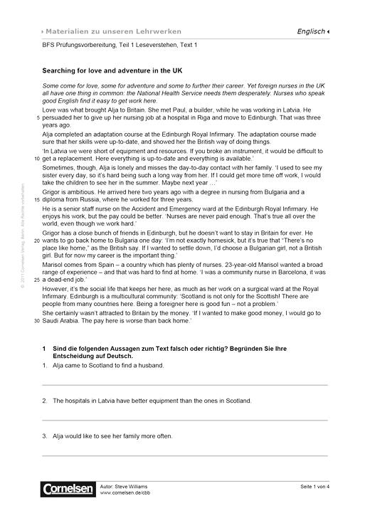 BFS Prüfungsvorbereitung, Teil 1 Leseverstehen, Text 1, Worksheet 4 - Arbeitsblatt
