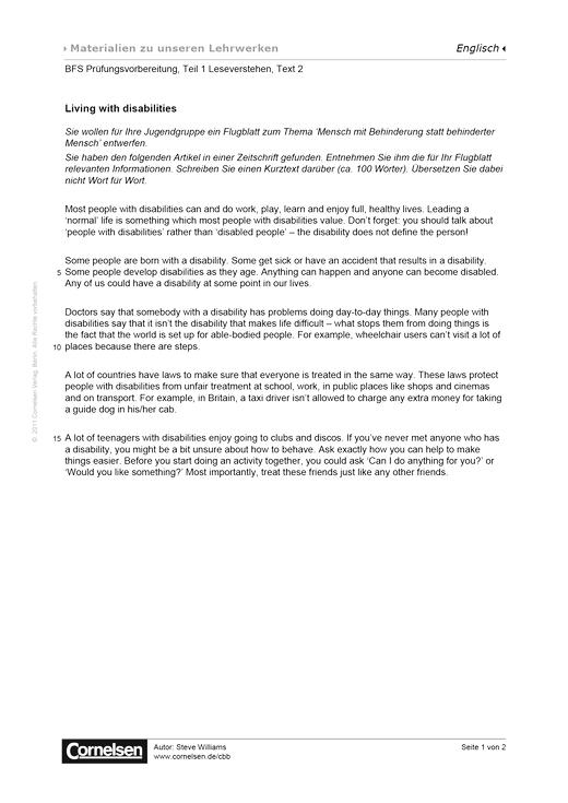 BFS Prüfungsvorbereitung, Teil 1 Leseverstehen, Text 2, Worksheet 3 - Arbeitsblatt