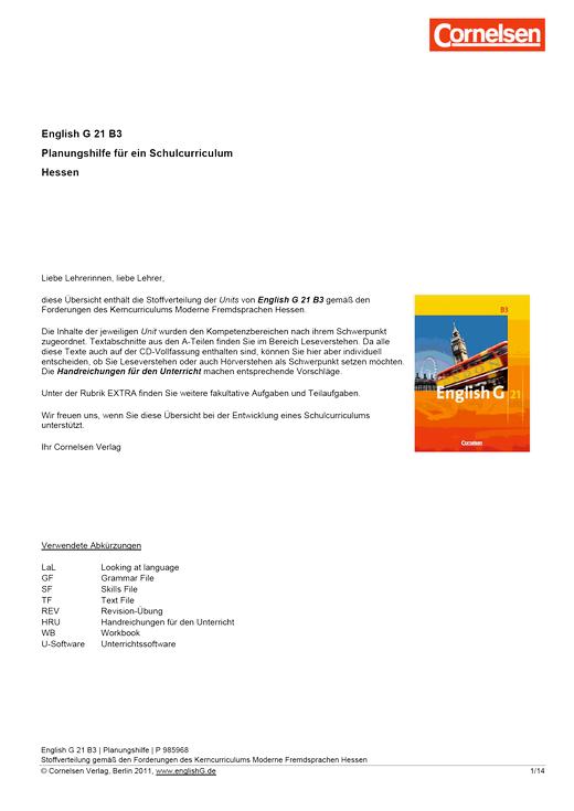 English G 21 - Planungshilfe Hessen - Band 3: 7. Schuljahr