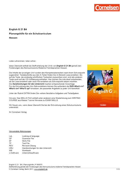 English G 21 - Planungshilfe Hessen - Band 4: 8. Schuljahr