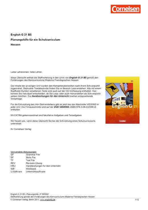 English G 21 - English G 21 B5 Planungshilfe zum Kerncurriculum Hessen - Planungshilfe - Webshop-Download