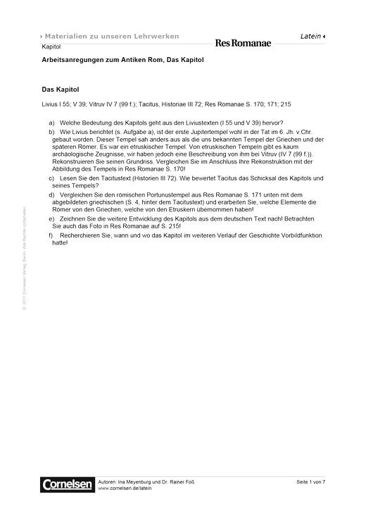 Das Kapitol - Schüler- und Lehrerfassung - Arbeitsblatt - Webshop-Download