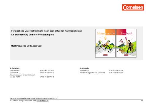 Muttersprache - Synopse für Brandenburg und seine Umsetzung in Muttersprache und Lesebuch Band 8 - Synopse - 8. Schuljahr