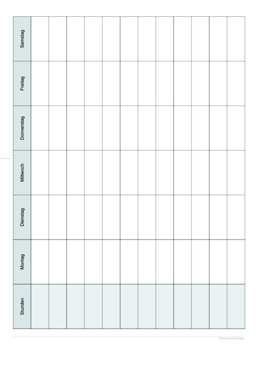 Stundenplan A3 - Kopiervorlage