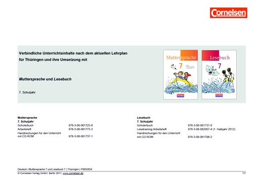 Muttersprache - Synopse für Thüringen und seine Umsetzung in Muttersprache und Lesebuch Band 7 - Synopse - 7. Schuljahr