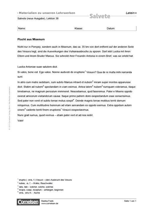 Übungstext zu Salvete N, Lektion 38 - Übungstext - Webshop-Download