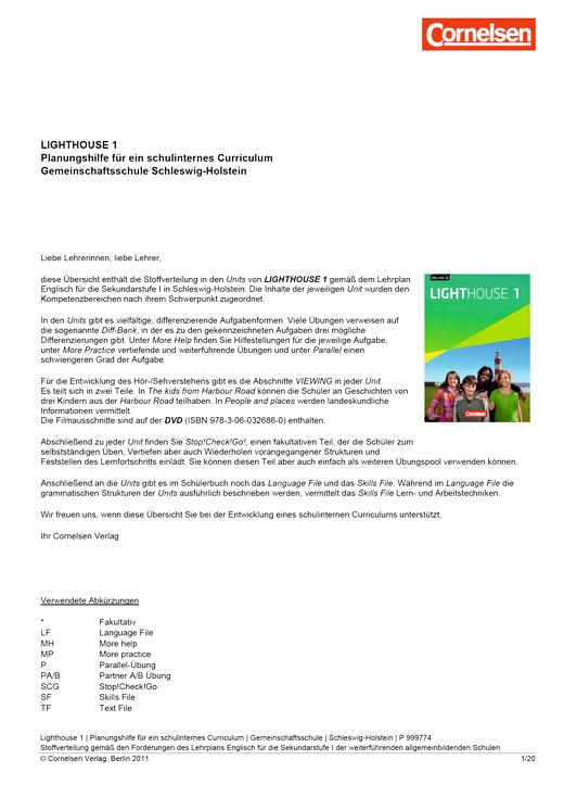 English G Lighthouse - Planungshilfe für die Gemeinschaftsschule Schleswig-Holstein - Band 1: 5. Schuljahr