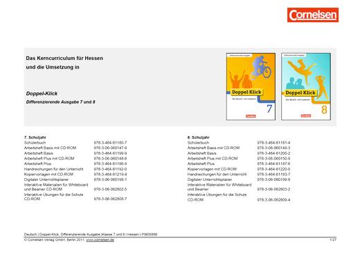 Doppel-Klick - Doppel-Klick Differenzierende Ausgabe 7 und 8 / Jahresplaner für Hessen - Stoffverteilungsplan