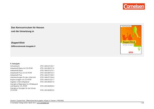 Doppel-Klick - Doppel-Klick Differenzierende Ausgabe 9 / Jahresplaner (Stoffverteilungsplan) für Hessen - Stoffverteilungsplan - 9. Schuljahr