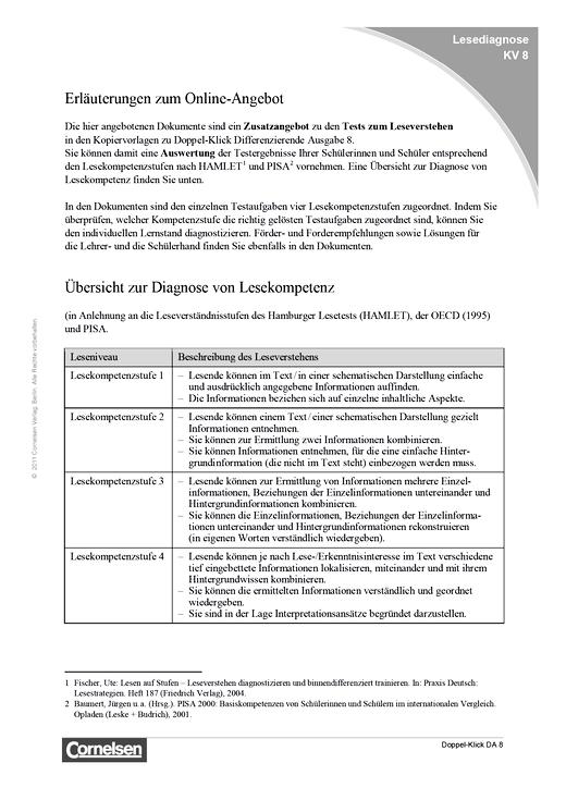 Doppel-Klick - Erläuterungen und Übersicht zur Lesediagnose - Didaktische Fachinfo - 8. Schuljahr