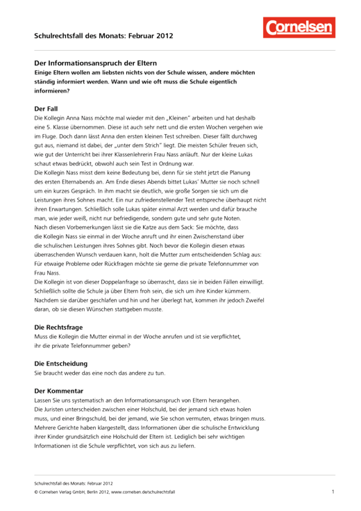 Der Informationsanspruch der Eltern – Fall Februar 2012 - Schulrechtsfall - Webshop-Download