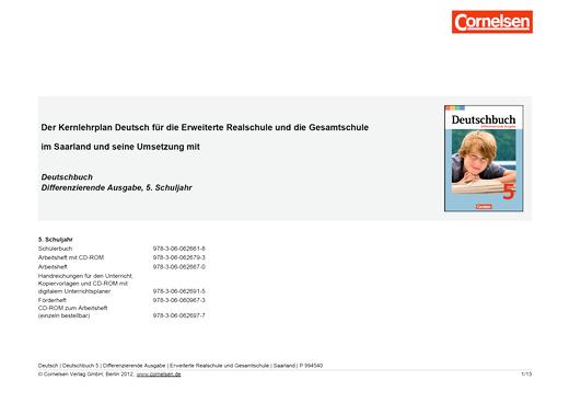 Deutschbuch - Jahresplaner für das Saarland - Synopse - 5. Schuljahr