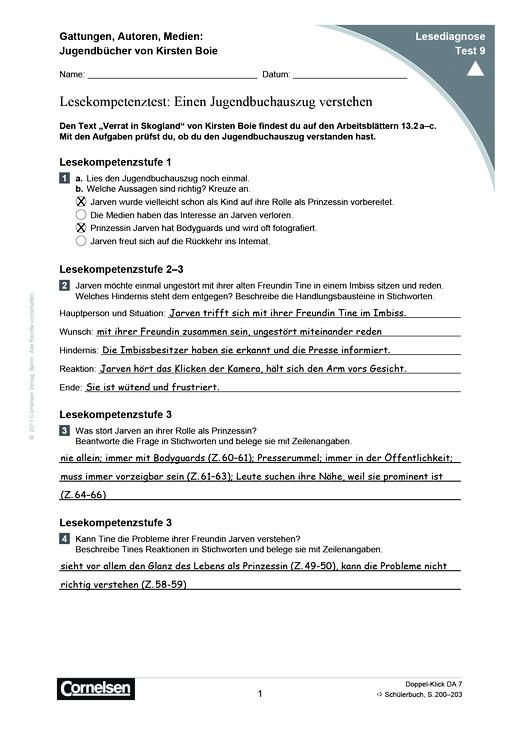 Doppel-Klick - Lesediagnose Test 9 schwer - Diagnosebogen - 7. Schuljahr
