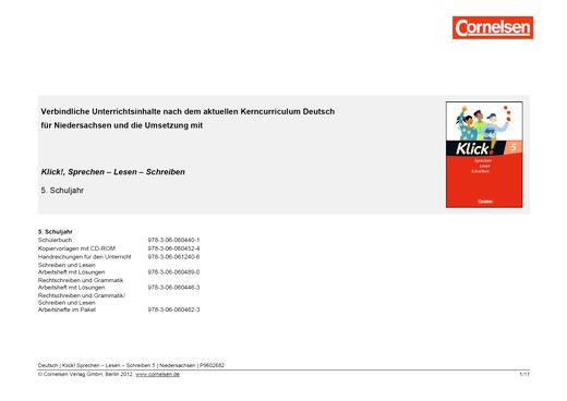 Klick! Deutsch - Jahresplaner Niedersachsen - Stoffverteilungsplan - 5. Schuljahr