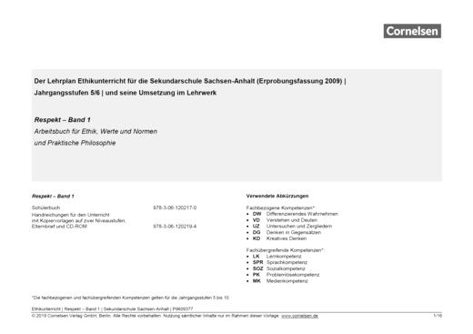 Respekt - Synopse für die Sekundarschule Sachsen-Anhalt - Band 1