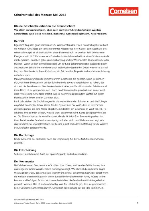 Kleine Geschenke – Fall Mai 2012 - Schulrechtsfall
