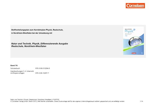 Natur und Technik - Physik: Differenzierende Ausgabe - Stoffverteilungsplan - 7./8. Schuljahr