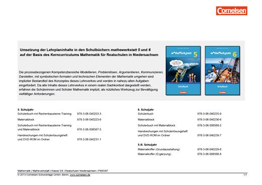 Mathewerkstatt - Synopse Mathewerkstatt 5/6 Realschule Nieders. - Synopse - 5./6. Schuljahr