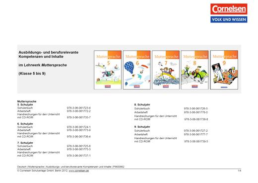 Muttersprache - Ausbildungs- und berufsrelevante Kompetenzen und Inhalte - Synopse - 5.-9. Schuljahr