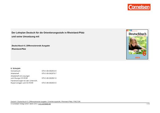 Deutschbuch - Deutschbuch Differenzierende Ausgabe 6 - Jahresplaner Rheinland-Pfalz - Synopse - 6. Schuljahr