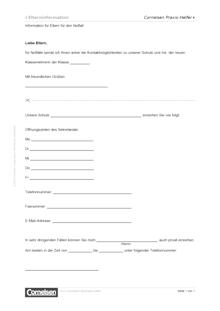 Information für Eltern für den Notfall - Editierbare Kopiervorlage