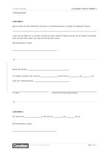 Telefongespräch (Elternbrief) - Editierbare Kopiervorlage
