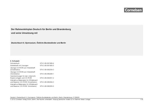 Deutschbuch Gymnasium - Synopse für Berlin/Brandenburg - 6. Schuljahr