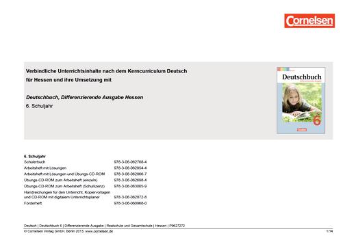 Deutschbuch - Stoffverteilungsplan - 6. Schuljahr