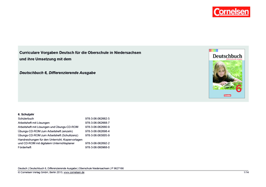 Deutschbuch - Jahresplaner Oberschule Niedersachsen - Stoffverteilungsplan - 6. Schuljahr