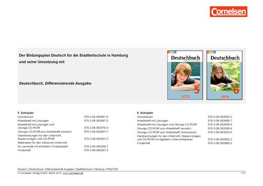 Deutschbuch - Jahresplaner für Hamburg - 5/6 - Stoffverteilungsplan - 5. Schuljahr