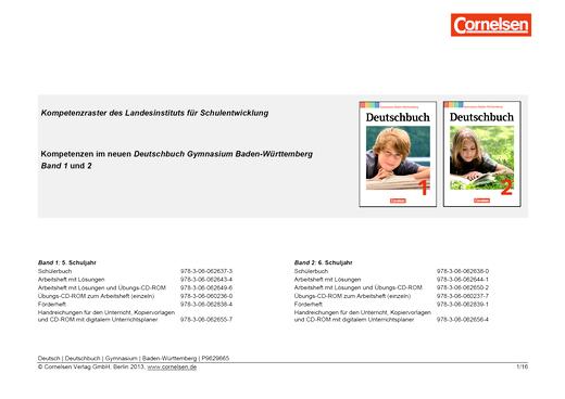 Deutschbuch Gymnasium - Kompetenzraster Deutschbuch 1+2, Gymnasium Baden-Württemberg - Synopse - Band 1: 5. Schuljahr