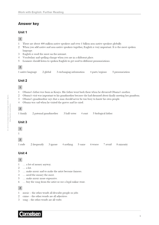 Work with English 4th Edition: Further Reading - Answer Key - Lösungen