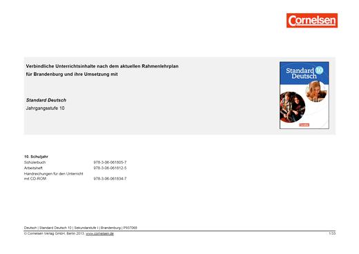 Standard Deutsch 10 – Stoffverteilungsplan Brandenburg - Stoffverteilungsplan