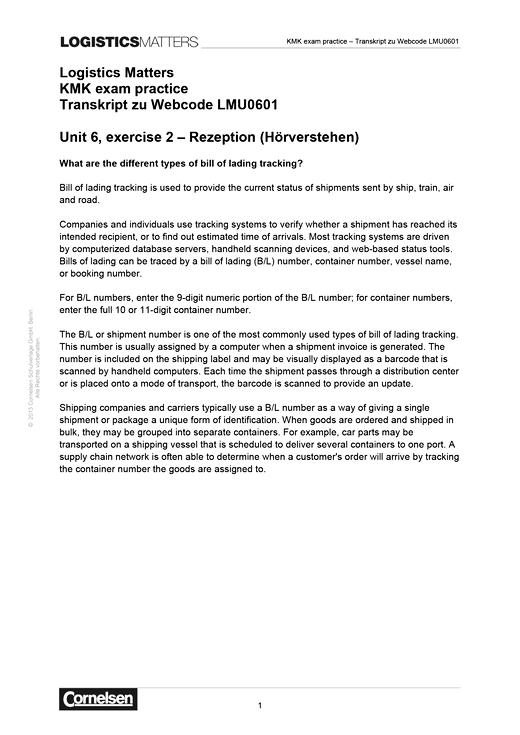 Logistics Matters - KMK exam practice Transkript zu Webcode LMU0601 - Lösungen - B1-Mitte B2