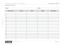 Adressübersicht für die Eltern - Editierbare Kopiervorlage