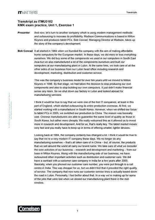 IT Matters Handreichungen Exam Practice - Transkripte - Lösungen