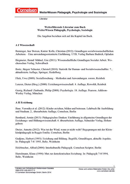 Literaturverzeichnis Weiterwissen Soziales - Onlinematerial - Webshop-Download