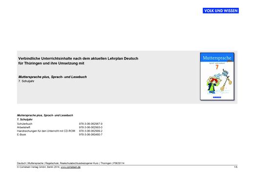 Muttersprache plus - Verbindliche Unterrichtsinhalte nach aktuellem Lehrplan Deutsch für Thüringen - Stoffverteilungsplan - 7. Schuljahr